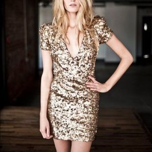 Stunning French Connection Gold Sequin Dress 4